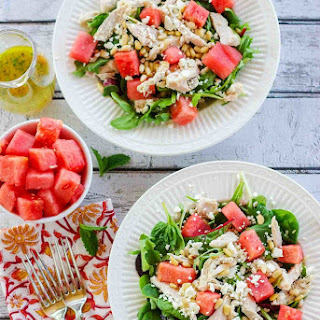 Watermelon Chicken Salad with Pine Nuts and Feta.