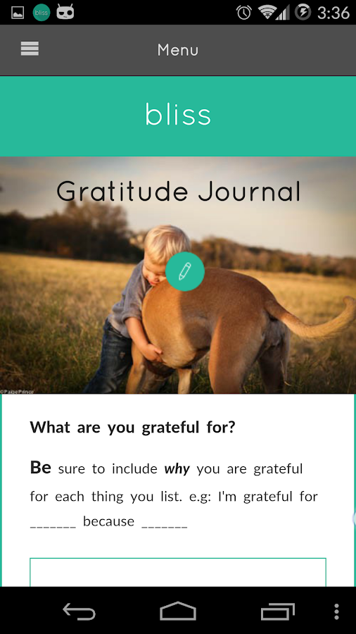 Gratitude Journal- screenshot