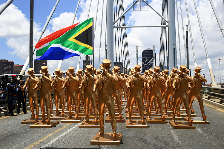 One for each day of the year, striding with a purpose. Picture: SUPPLIED/JOHNNIE WALKER