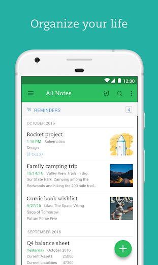 Screenshot 0 for Evernote's Android app'