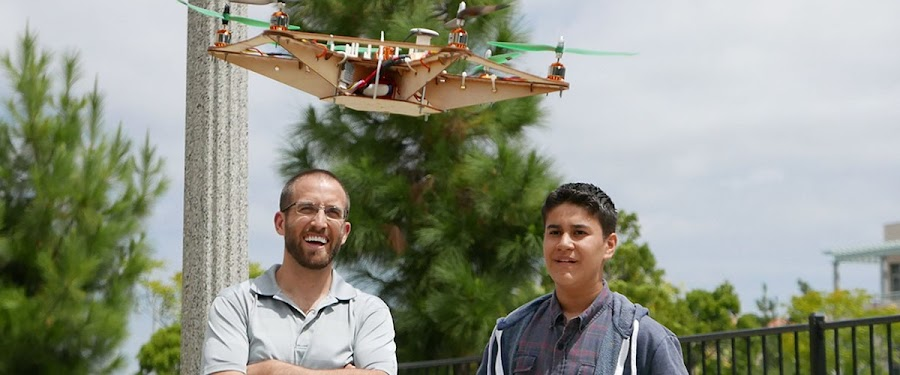 Scott Swaaley and a student testing a drone for the GRITLab Flight Club