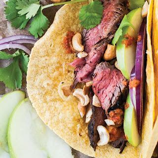 Steak Tacos with Apples & Cilantro.
