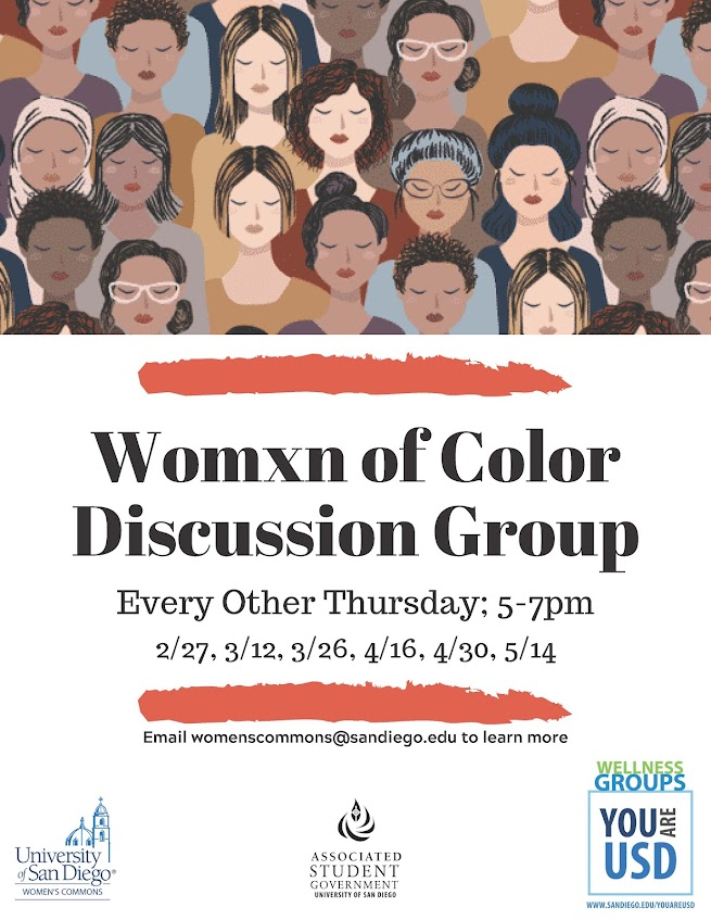 Womxn of Colour Discussion Group, every other Thursday