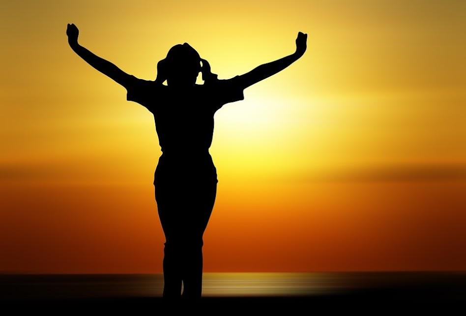 人, 女性, 女の子, 人間, 喜び, サンセット, 太陽, オレンジ, 生命の欲望, 乾杯, シルエット