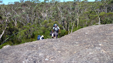 Photo: Climbing up along rocky areas between the track and the campsite