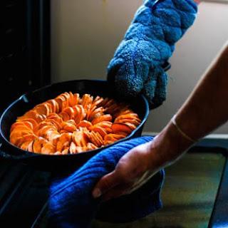 Cast Iron Sweet Potatoes + Coconut Drizzle