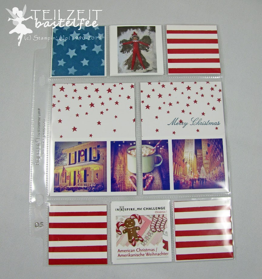 Stampin' Up! – In{k}spire_me #279, Christmas Challenge, Weihnachten, Project Life, Hello December 2016, InColors, Decorative Masks, Dekoschablonen, America, Stars and Stripes, Come to Bethlehem