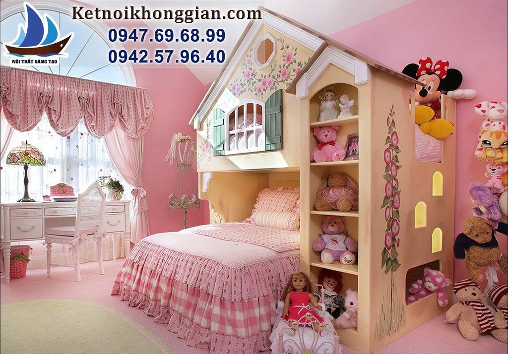 thiết kế phòng ngủ bé gái phong búp bê