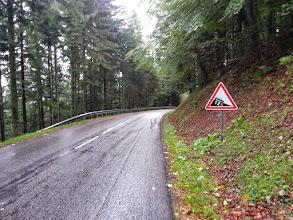 Photo: Panneau indiquant la pente dans le col du Platzenwazel