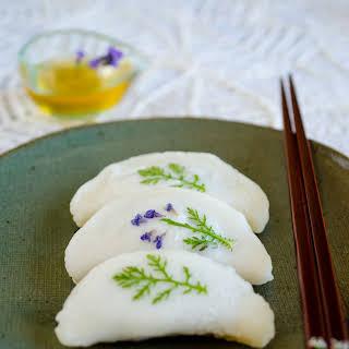 Bukkumi with Fresh Flowers (Pan-fried Rice Cake Dumplings with Sweet Red Bean filling).