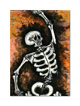 """Photo: Calaveras no. 54.  2.5/3.5"""" mixed medium on archival paper.  Signed and dated.  ©Marisol McKee"""