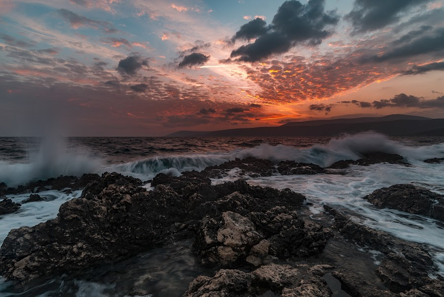 rocks and waves by Enver Karanfil - Landscapes Sunsets & Sunrises ( waves, sunrise, rocks, sunset, clouds, sun, sea,  )