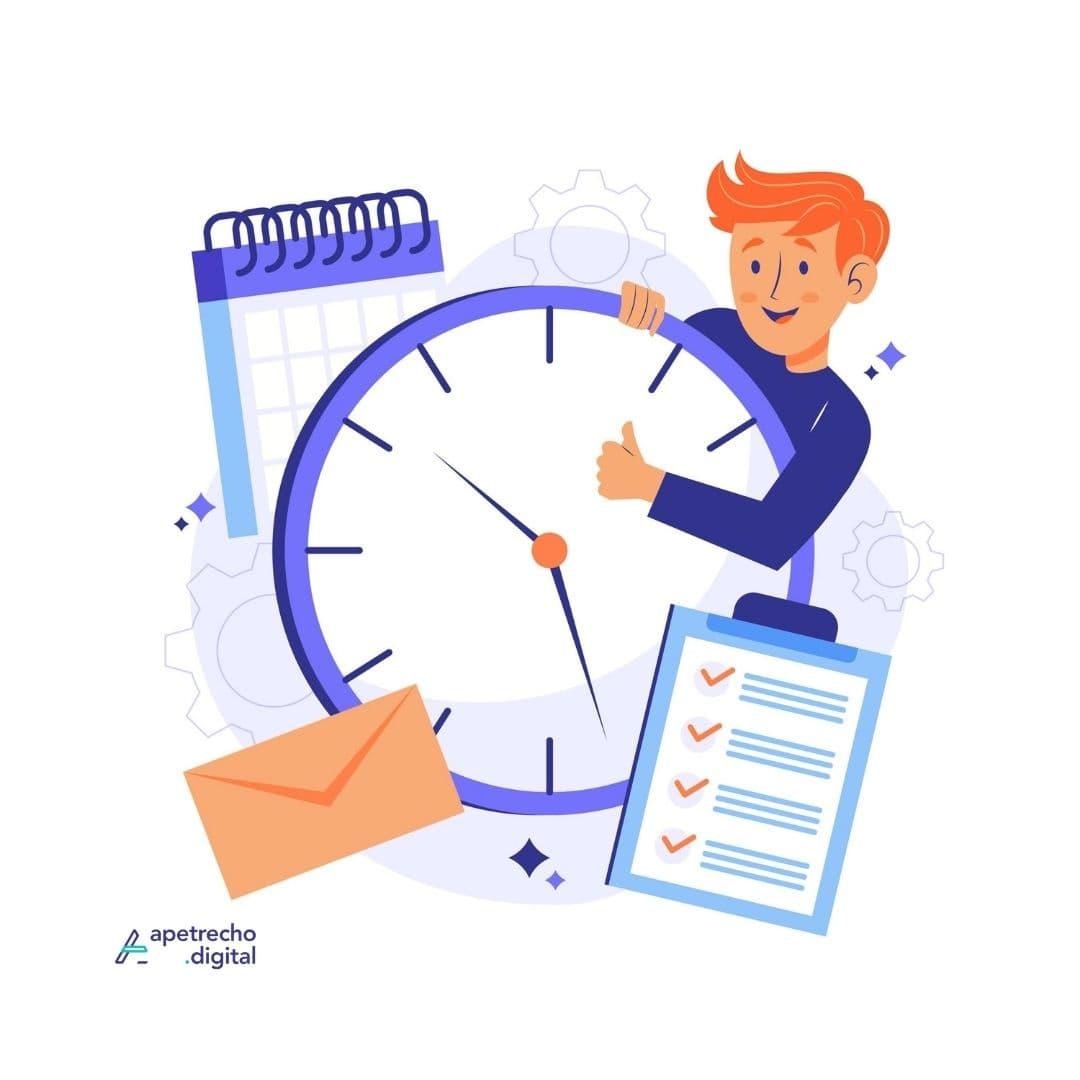 Ilustração de um homem com relógio, carta e lista feliz por ser organizado.