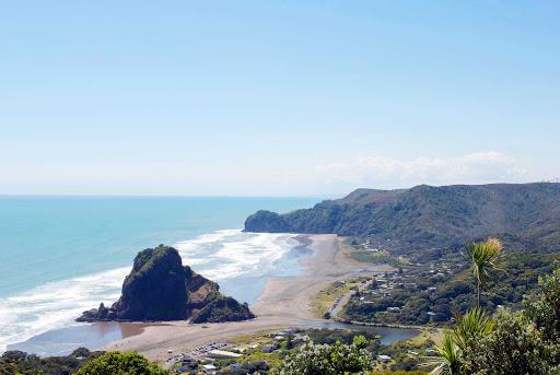 Piha-Beach-Auckland - A view of Pina Beach in Auckland, New Zealand.