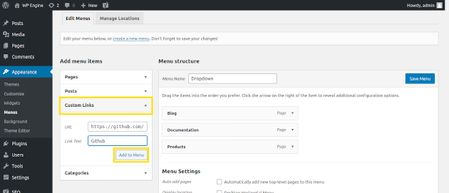 Screenshot of how to add links to your menu in WordPress