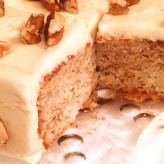 Banana Cake with Bailey's Swiss Meringue Buttercream Frosting