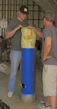 Photo: Packing the parachute for the UCSD liquid fueled rocket