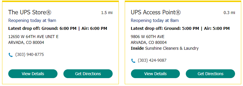UPS Access Point Hours And Locations Example
