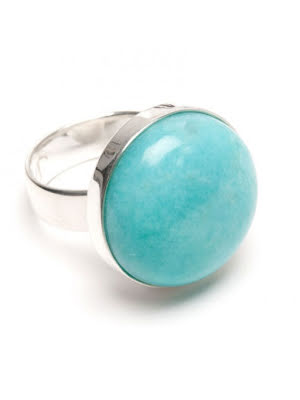 Amazonit, slät silverring med rund sten