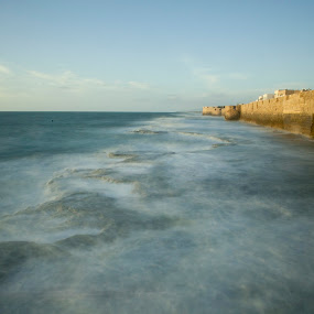 Rocky coast  by Yeshaya Dinerstein - Buildings & Architecture Public & Historical ( city- fort - old city - wall - acre - beach - israel - mediterranean sea - rocky coast - sea - water -waves - coast )