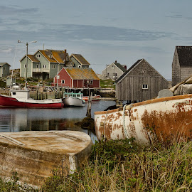 Old boats by Carl Chalupa - City,  Street & Park  Historic Districts ( fishing boats, peggys cove )