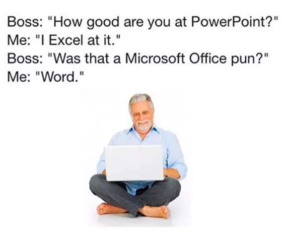 An old employee reading Microsoft office puns