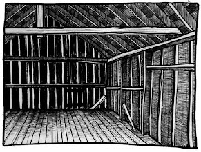 Photo: The Smith barn loft, Chautauqua County/Western New York (pen & ink sketch)