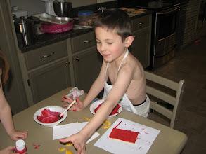Photo: Reed Valentine Prep - - Reed, screenprinting his valentines