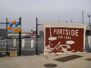 Photo: Yup, here's the place - the Atlantic Basin, in the Red Hook section of Brooklyn. And there's the birthday girl - the red boat with the buff-colored smokestack is the retired tanker Mary Whalen, 70 years old. She now serves as the offices for PortSide NY, and they're throwing her a big party!
