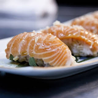 Salmon Sushi With Barley Grains, Rice And Porcini Soy Sauce.
