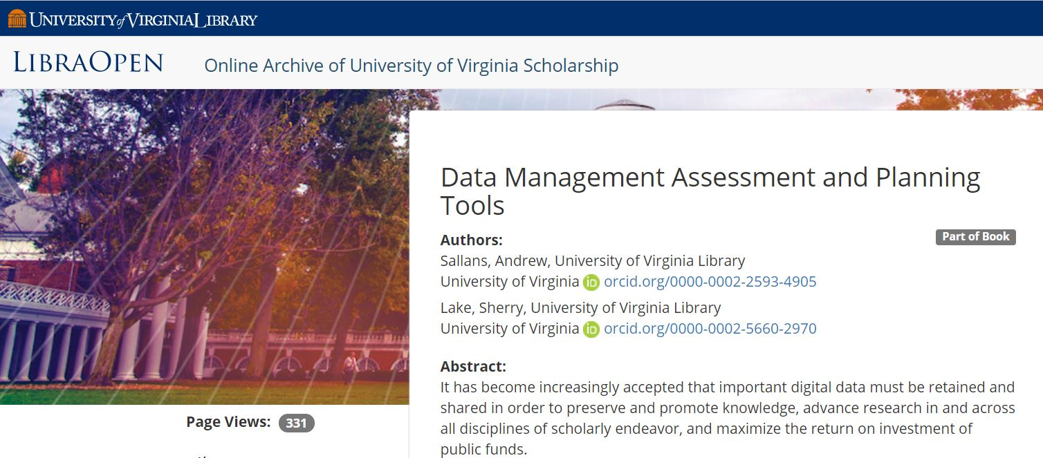 "Screenshot image shows the user interface for the University of Virginia Library's LibraOpen institutional repository, showing the page for an article titled, ""Data Management Assessment and Planning Tools."" There are two authors listed, both with an ORCID iD icon and URI listed next to their names."