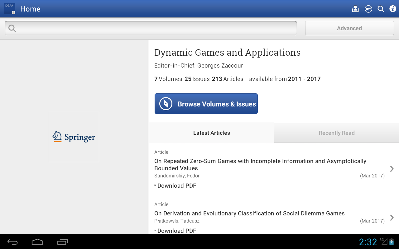 Dynamic Games and Applications- screenshot