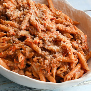 Penne Pasta with Creamy Meat Sauce.