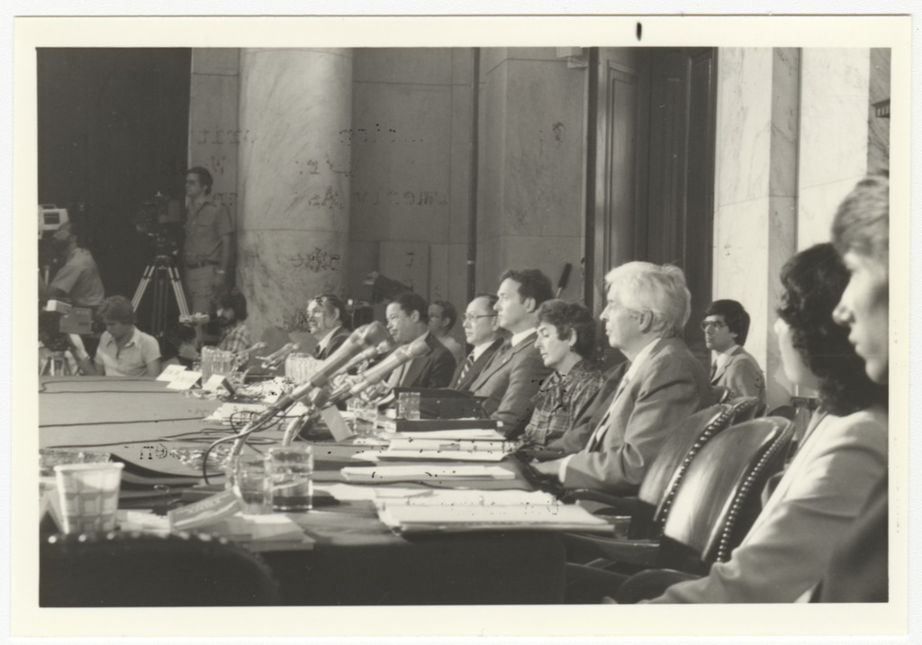 Members of the Commission on Wartime Relocation and Internment of Civilians listening to testimony.