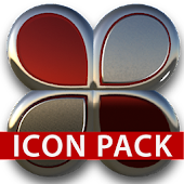 Red silver glas icon pack HD