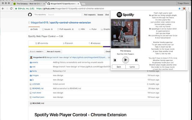 Spotify Web Player Control with Lyrics