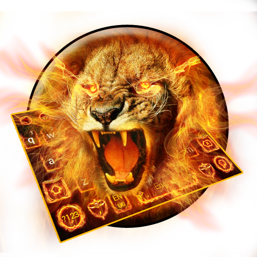 Golden Flaming  Lion Keyboard Theme