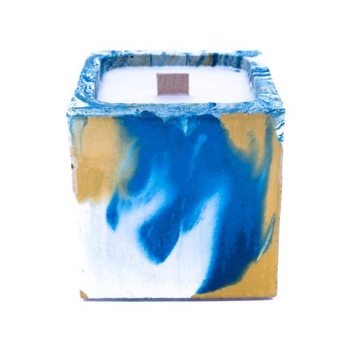 BOUGIE EN BETON marbré jaune et  bleu pétrole
