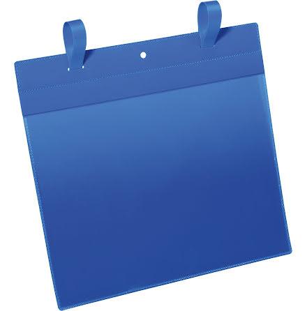 Plastficka A4L m. fästband blå