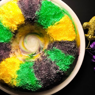 Blueberry Cream Cheese Gluten Free King Cake Bundt Cake.