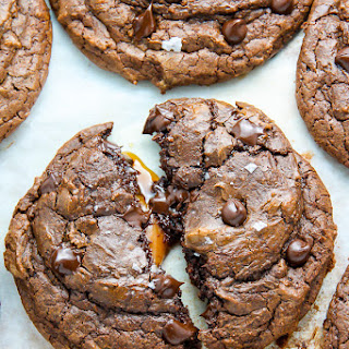 Soft Batch Salted Caramel Chocolate Fudge Cookies