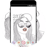 Girly Theme:Stylish Drawing Glamour Girl Wallpaper Icon