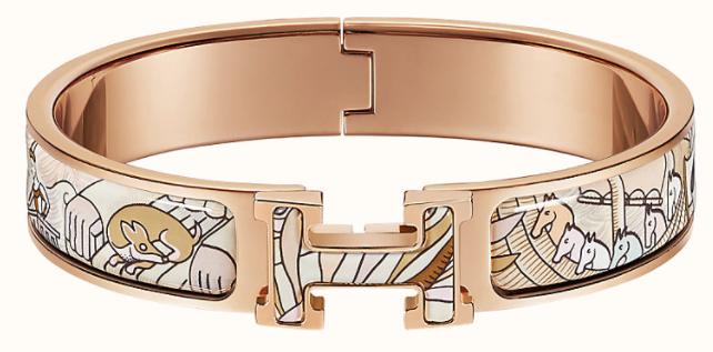 5. กำไลข้อมือผู้หญิงแบรนด์ HERMES รุ่น Clic H Cosmographia Universalis bracelet