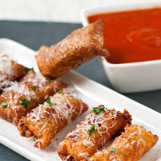 Crispy Wonton Mozzarella Sticks.