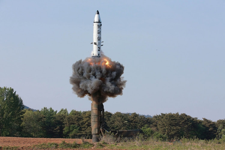 The scene of the intermediate-range ballistic missile Pukguksong-2's launch test in this undated photo released by North Korea's Korean Central News Agency on Monday. Picture: KCNA/via REUTERS