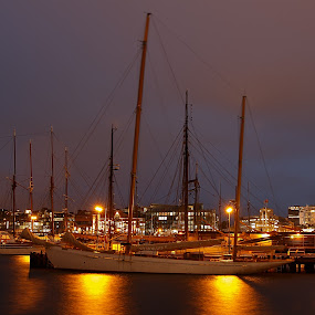Oslo Harbour by Tom Mehlum - City,  Street & Park  Night ( europe, harbour, oslo, boats, sea, ships, night, downtown, norway )