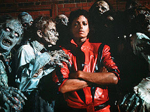 """Photo: Singer Michael Jackson w. ghouls in video for his album """"Thriller."""""""