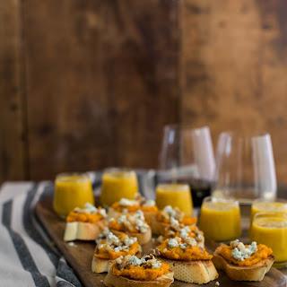 Sweet Potato Crostini with Walnuts and Danish Blue Cheese.