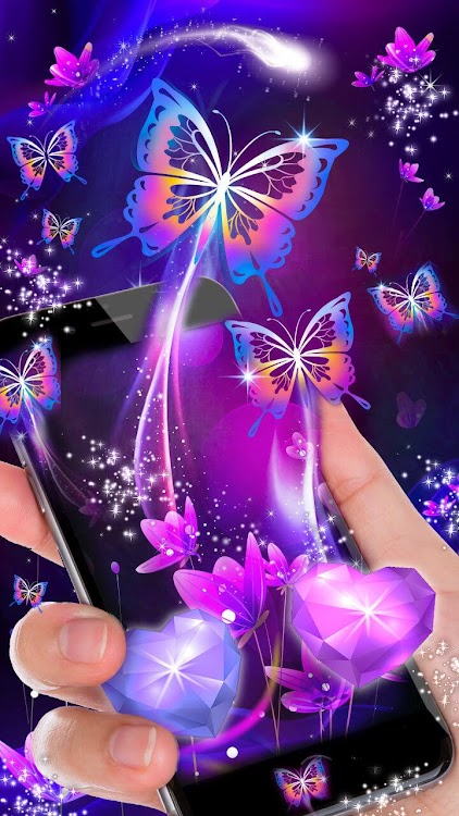 Neon Butterfly Purple Live Lock Screen Wallpaper Android