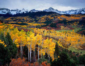 """Photo: autumn vista of the <a href=""""search.php?q=sneffels%20range"""">Sneffels Range</a> and its numerous golden aspen groves, Colorado - October"""